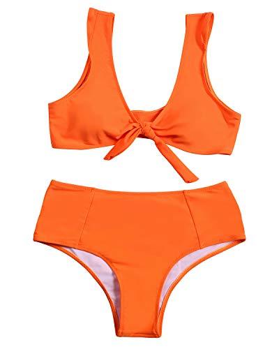 ZAFUL Womens Solid Color Strap Padded Front Knot Bikini Set Orange