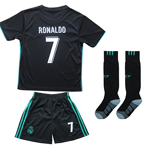 Soccer Away Jersey Short (2017/2018 REAL MADRID #7 RONALDO KIDS AWAY SOCCER JERSEY & SHORTS YOUTH SIZES (Black, 4-5 YEARS OLD))