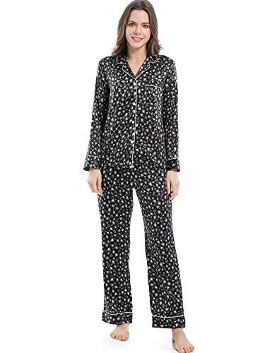 Serenedelicacy Women's Silky Satin Pajamas, Button Up Long Sleeve PJ Set Sleepwear Loungewear (Small / 4-6, Leopard (Black Grey - Pj Pant Boyfriend