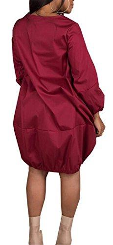 Jaycargogo Manches Longues Couleur Unie Col Ras Du Cou Coupe Ample Sur La Taille Robe Rouge Vin Féminin