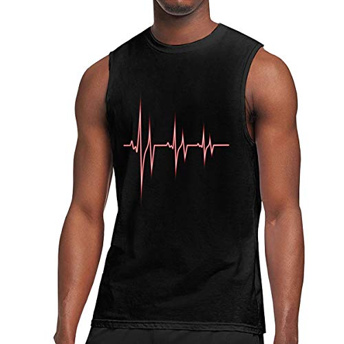 Men's Muscle Tank Top Softball ECG Heart Beat Gym Training-Tech Running Activewear Black ()