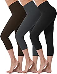 VALANDY Ultra Soft High Waisted Yoga Capri Leggings for Women Opaque Stretch Tummy Control Pants One Size &