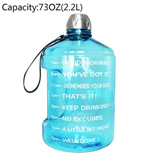BuildLife 1 Gallon Water Bottle Motivational Fitness Workout with Time Marker |Drink More Water Daily | Clear BPA-Free | Large 128 Ounce/73OZ/43OZ of Water Throughout The Day (73OZ-Light Blue, 73OZ)