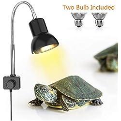 DADYPET Tortoise Heat Lamp, Reptile Light for Aquarium with Holder UVA UVB Basking Lamp with 360° Rotatable Clip & Power Adapter for Reptiles, Lizard, Turtle Snak Aquarium 25W(Lamp Bulb Include)