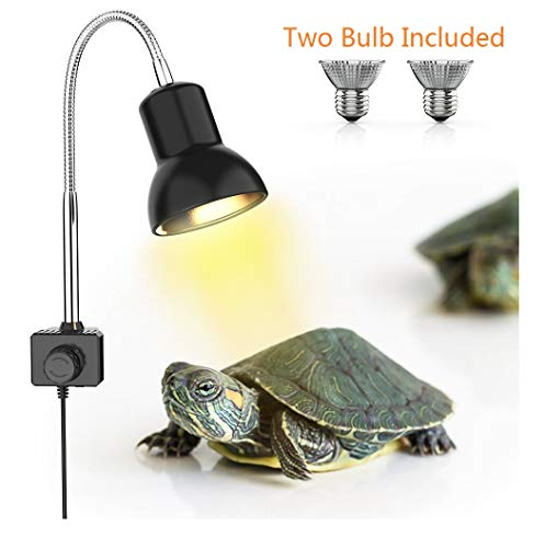 (DADYPET Tortoise Heat Lamp, Reptile Light for Aquarium with Holder UVA UVB Basking Lamp with 360° Rotatable Clip & Power Adapter for Reptiles, Lizard, Turtle Snak Aquarium 25W(Lamp Bulb Include))
