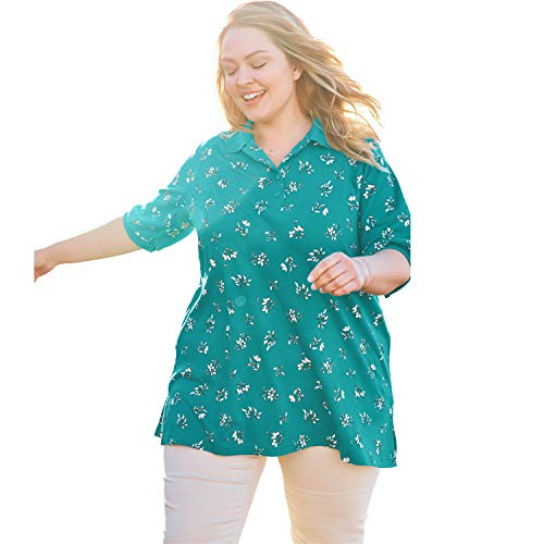 Woman Within Women's Plus Size Short-Sleeve Tunic Polo Shirt - Waterfall Space Floral, M