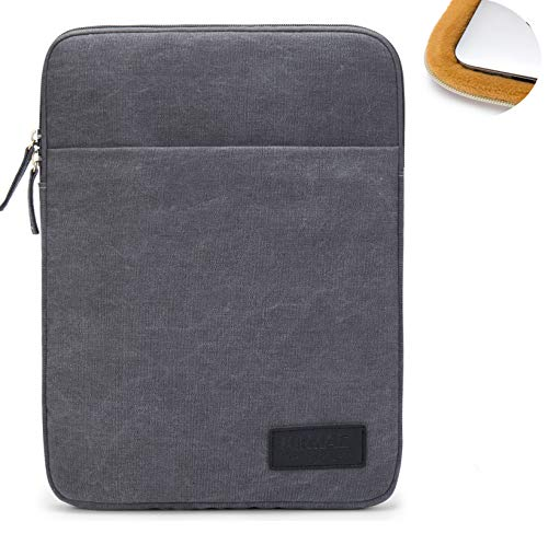 """Kinmac 360°Protective Canvas Vertical Waterproof Laptop Sleeve with Pocket for 13 inch-13.5 inch Laptop and Old MacBook Air 13"""",Old MacBook Pro 13"""",Microsoft Surface Laptop Book 13.5""""(Grey)"""