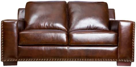 Abbyson Beverly Hand Rubbed Leather Loveseat, Brown