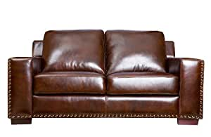 Abbyson Beverly Hand Rubbed Leather Loveseat