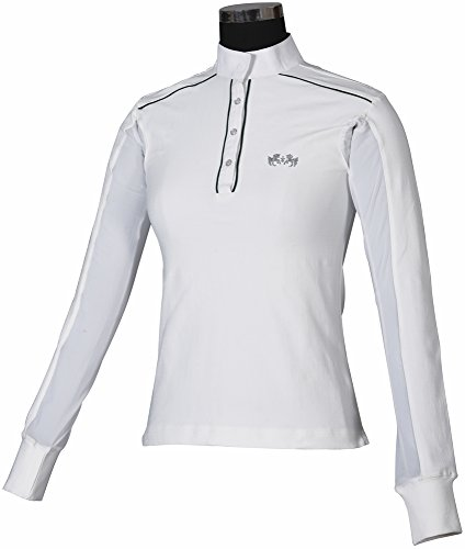 Equine Couture Ladies Rio Show Shirt (White/Hunter, - Ladies Shirt Show