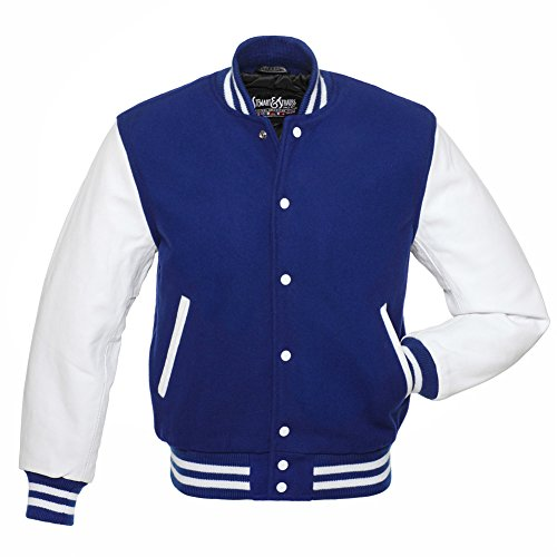 C102-M Royal Blue Wool White Leather Varsity Jacket Letterman - Jackets Blue Continental