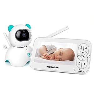 Babyphone Caméra Vidéo 5 Pouces, HD 720P HeimVision 300M Moniteur Bébé Rechargeable, 360° Grand Vision, VOX, Alarme Son…