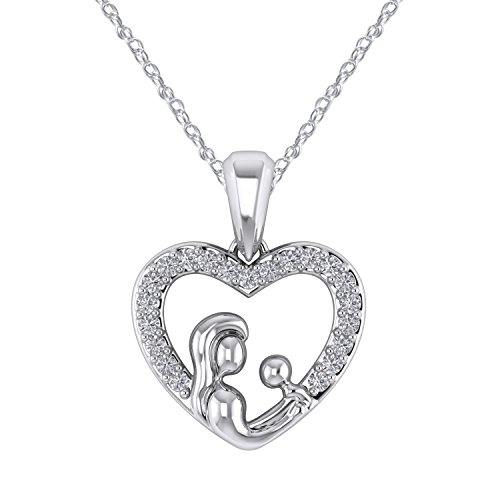 Pretty Jewels Mothers Love 0.11 Carat Diamond Heart Necklace in 925 Sterling Silver 18