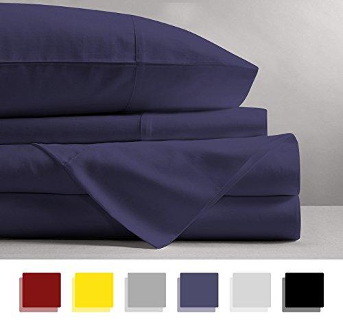 15 Deep Pocket Sheet Set - Mayfair Linen 100% Egyptian Cotton Sheets, Plum Queen Sheets Set, 800 Thread Count Long Staple Cotton, Sateen Weave for Soft and Silky Feel, Fits Mattress Upto 18'' DEEP Pocket