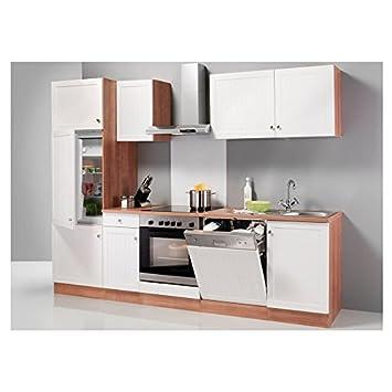 Optifit küchenzeile mit e geräten bornholm breite 270 cm braun weiße