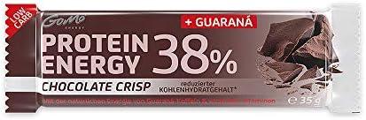 GoMo ENERGY® 38% PROTEIN VITAMIN RIEGEL │+45mg Guarana Koffein + L-Carnitin │Eiweissriegel für Ausdauersport und zwischendurch │crunchy und leicht I CHOCOLATE CRISP 18x35g