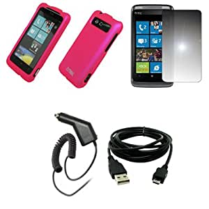 EMPIRE Hot Pink Rubberized Hard Case Cover + Mirror Screen Protector + Car Charger (CLA) + USB Data Cable for HTC Trophy T8686