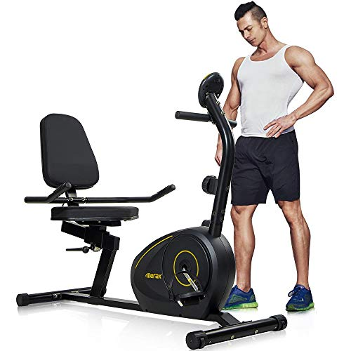 (Merax Magnetic Recumbent Exercise Bike | 8-Level Resistance | Quick Adjust Seat (Black/Yellow))