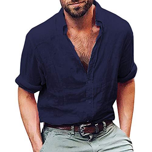 haoricu Mens Long Sleeve Cotton Linen Henley Shirt Beach Yoga Loose Fit Tops Blouse by haoricu