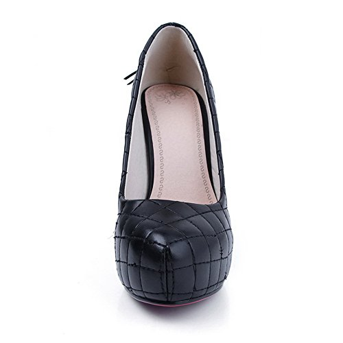 High Tassels 5 with Womens Black VogueZone009 UK Soft Toe PU Material Heel Stiletto Closed Pumps Round Tw7RI