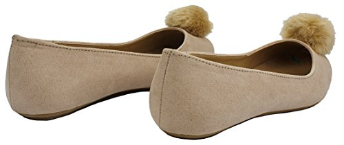 Women Fluffy Feather Round Toe Faux Suede Pom Pom Comfort Slip On Loafer Ballet Dress Flats Taupe_48 cB4O9eQT3