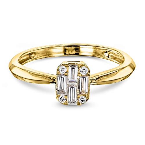 - Diamond Baguette-cut Quad Low Setting 1/4 Carat TDW 10k Yellow Gold Engagement Ring, 5.5