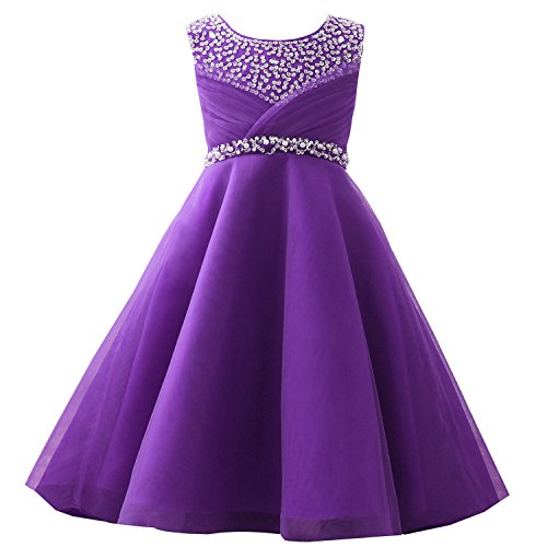 Castle Fairy Girls' First Communion Organza Sequin Pearls Flower Girl Dress with Train (6, Purple)