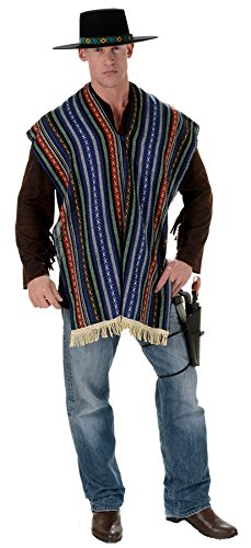UHC Men's Bandito Serape Outfit Gunfighter Characters Adult Halloween Costume, OS (Gunfighter Halloween Costume)