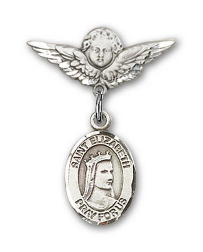 Icecarats Créatrice De Bijoux En Argent Sterling St. Elizabeth De La Broche Badge Hongrie Charme D'Ange 7/8 X 3/4