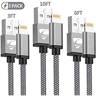 iPhone Charger, MFi Certified Lightning Cable 3Pack [3ft+6ft+10ft] Nylon Braided iPhone Cable Fast Charging Data Sync Transfer Cord Compatible with iPhone Xs Max/XS/XR/X/8/7/6S/6/Plus/SE/iPad