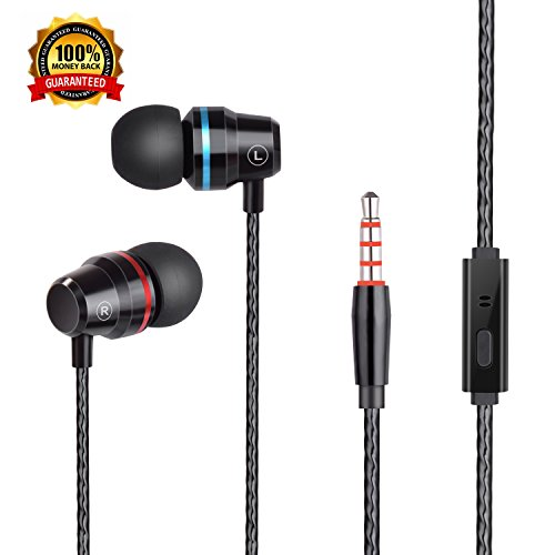 Earbuds Headphones Stereo In-ear Earphones with Microphone Mic Wired earbuds Waterproof Earphone for iPhone Samsung MP3 Players Nokia,HTC,and More Android Smartphones(Without Volume Control) Black - Home Audio Noise Canceling Headphones