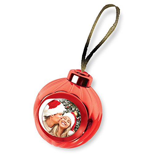 (Launch Innovative Products Red Voice Recording Talking Christmas Ornament - Add Your Own Photo and Press a Button to Record and Play Back)