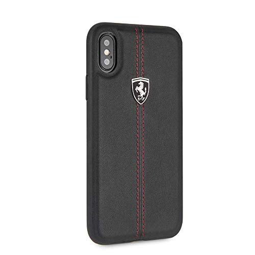 Ferrari iPhone X & iPhone Xs Case - by CG Mobile - Black Cell Phone Case Genuine Leather | Easily Accesible Ports | Officially ()