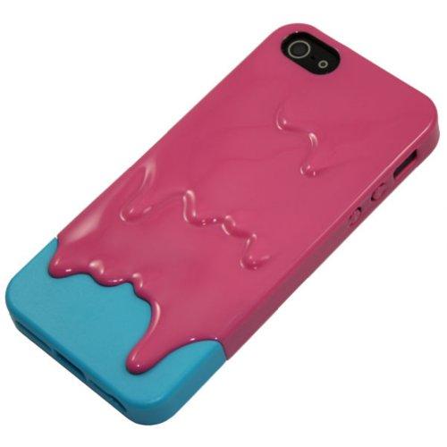 Demarkt Melt Coque Housse 3D Glace fondue Protection pour iPhone 5 Ice Cream dégoulinante Rose et Bleu Clair