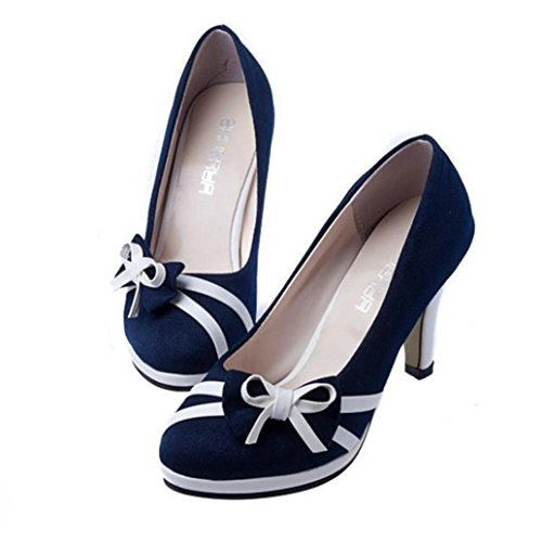 Women's Shoes,Tootu Bowknot Shallow High-Heeled Shoes (US:6.5/Foot Length:221-225mm, Blue)