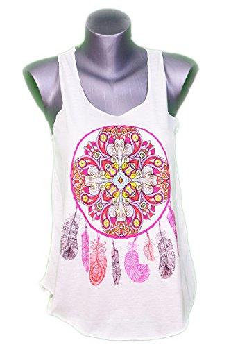 GL BOUTIK Canotta Top per Donne acchiappasogni - Dreamcatcher - Style Etnico - Color Crema