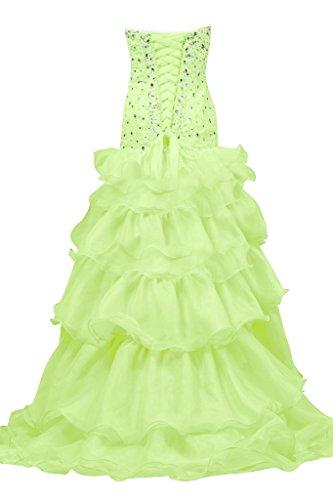 En forma de corazón de la perla de imitación de novia de la Toscana iluminadas por la noche vestidos de organza largo Hi-Lo bola Prom vestidos de fiesta Salbei