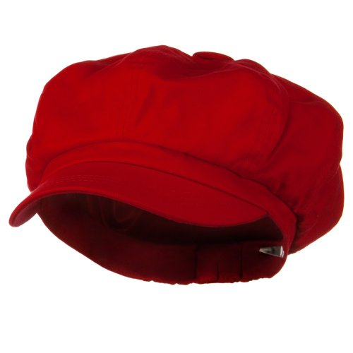 Big Size Cotton Newsboy Hat - Red (For Big Head)