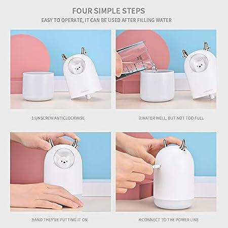 Aceites Esenciales Humidificador con Luces LED Cambiantes de 7 Colores Silencioso Blanco JSG Humidificador Bebes Relajante Ultras/ónico Aromaterapia Puro 300ml Purificador de Aire