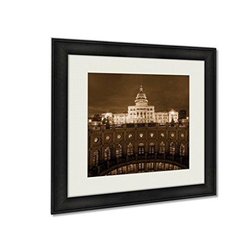 Ashley Framed Prints Texas State Capitol Building In Austin Tx, Wall Art Home Decor, Sepia, 34x34 (frame size), - Frames Glasses Tx Austin