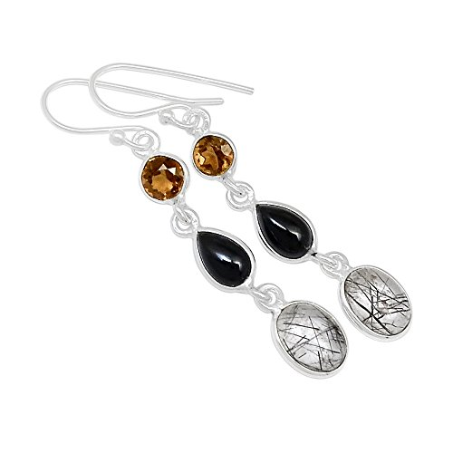 Xtremegems Black Tourmaline In Quartz 925 Sterling Silver Earrings Jewelry 1 7/8