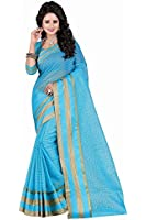 Kiranz Web Store Women's Sky Blue color Cotton silk Saree (Sky Blue (boarder)Kwsmpb_140)