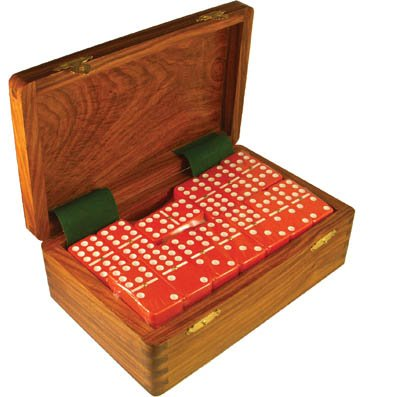 Dominoes Pack (Domino Double Nine Red in Dovetail Jointed Sheesham Wood Box - Jumbo Tournament Size)