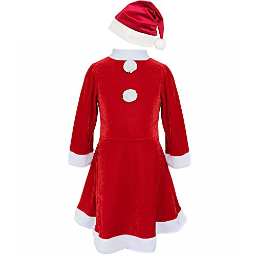 Ruimeier Child Girls Christmas Santa Costume Red Velvet Dress with Santa Hat and Belt 025D - Santa Costume Girl