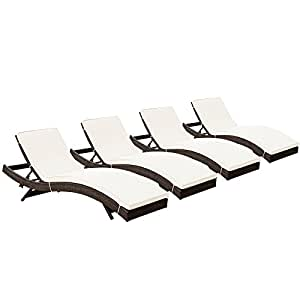 LexMod Peer Outdoor Wicker Chaise Lounge Chair with Brown Rattan and White Cushions, Set of 4