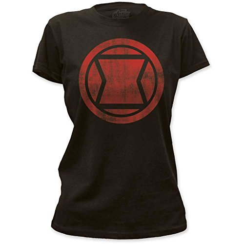 Black Widow - Womens Distressed Icon Women'S T-Shirt, 2XL, Multicolored