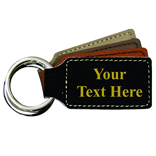 Engraved Keychain - Monogrammed Custom Keychain Fob Holder - Square Your Text Design