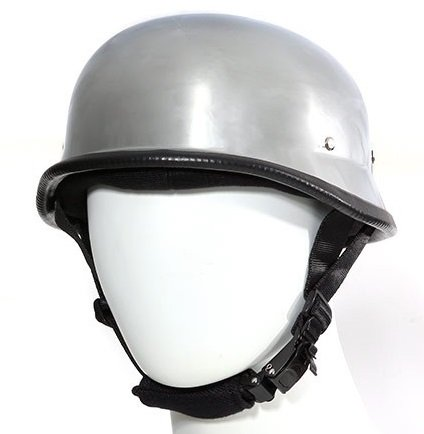 Chrome German Style Novelty Motorcycle Helmet (Size L, LG, Large)