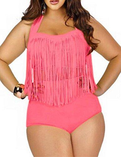 [Papaya Wear Women's Retro High Waist Braided Fringe Top Bikini Swimwear Plus Size,Pink ,XXX-Large] (Plus Size Swimwear)