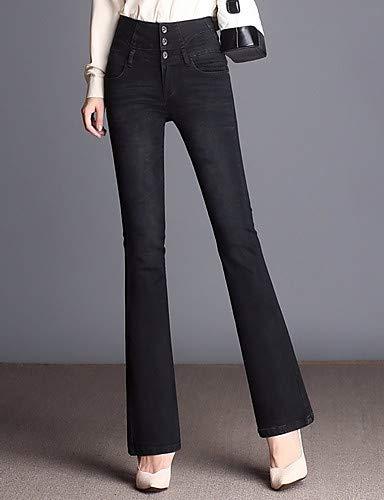 YFLTZ Pantalon Jeans pour Femme - Taille Haute Couleur Unie Black